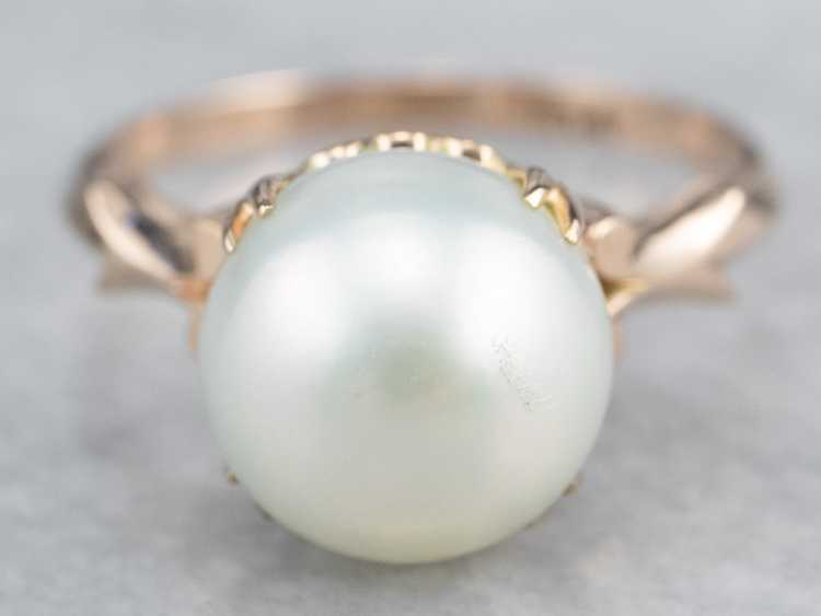 Pearl Rose Gold Solitaire Ring - image 2