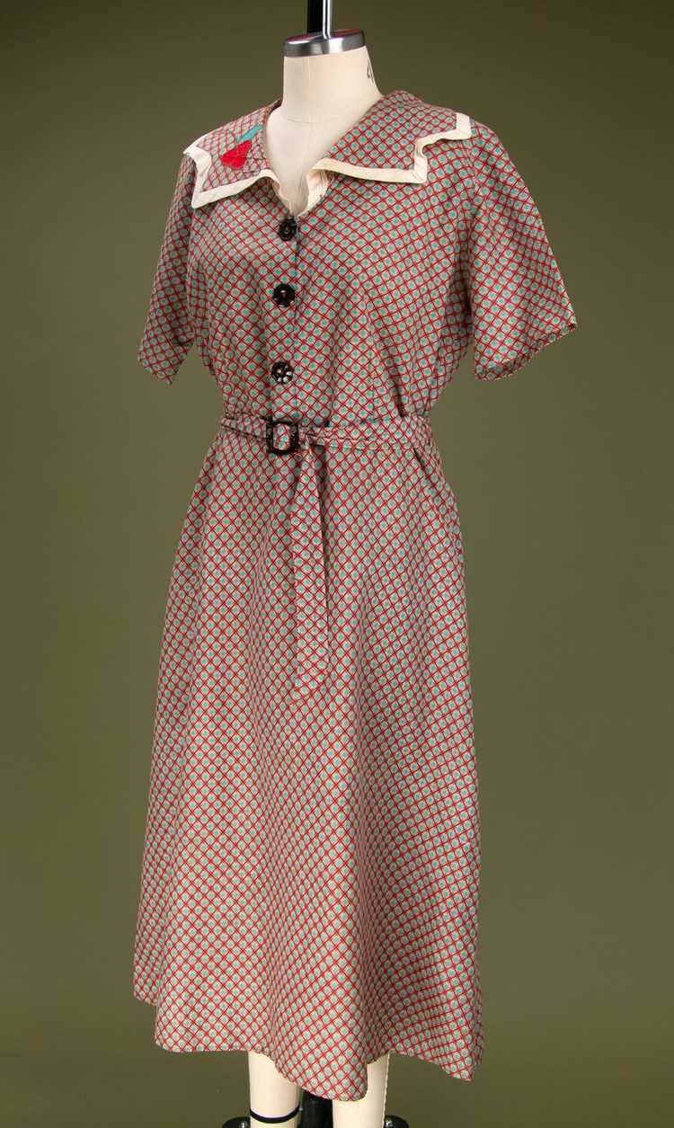 Vintage 1930's - Early 1940's Cotton Dress - image 7