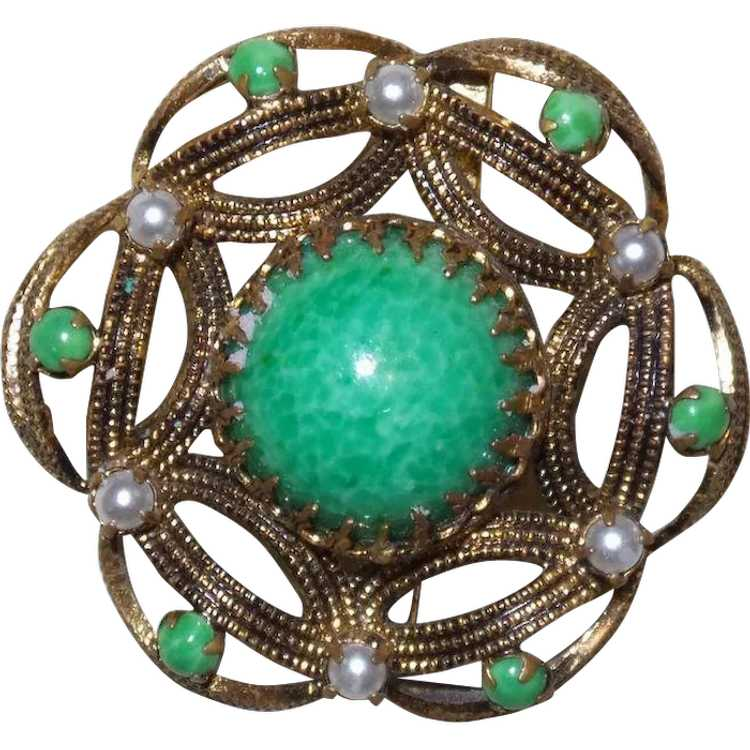 Vintage Faux Jade and Faux Pearl Brooch - image 1