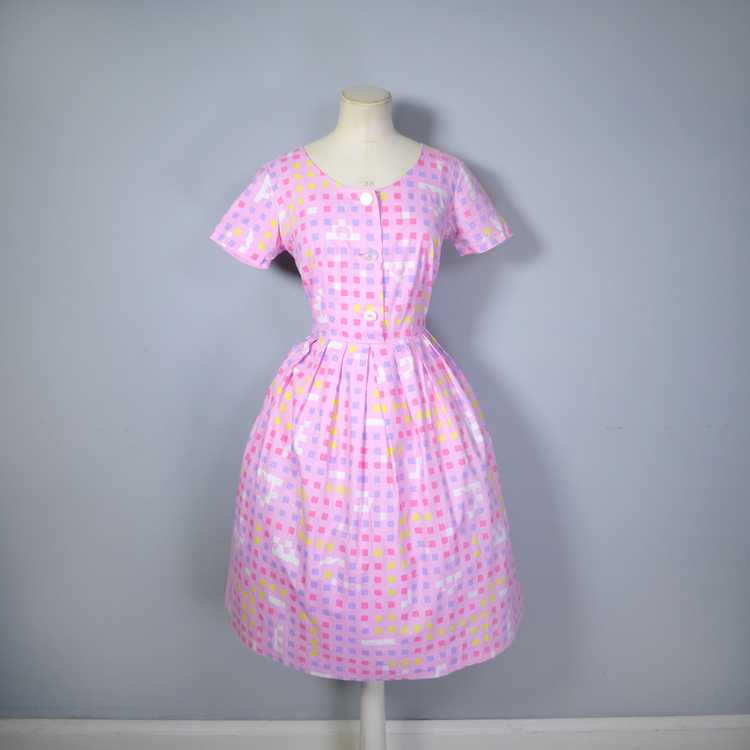 """50s 60s """"BANNER"""" PINK COTTON DAY DRESS WITH PASTE… - image 6"""