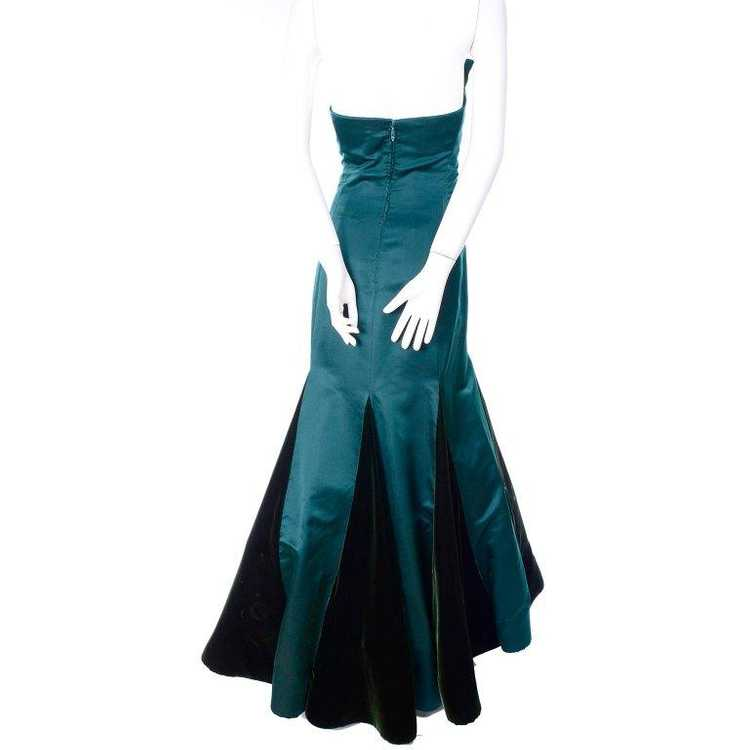 Arnold Scaasi Strapless Green Evening Gown W/ Vel… - image 4