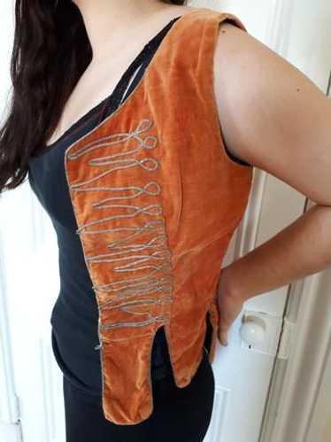 Esin - AntiqueTurkish rust velvet vest with silver