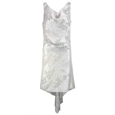 Vintage 20s Silver Floral Deco Lame Evening Dress