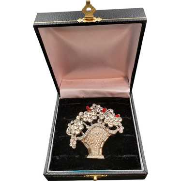1940s Crystal and Red Baguette Rhinestone Flower B