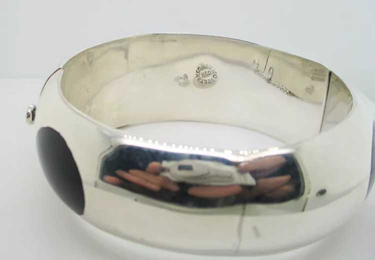 Sterling Silver and Onyx Mid-Century Modern Brace… - image 6