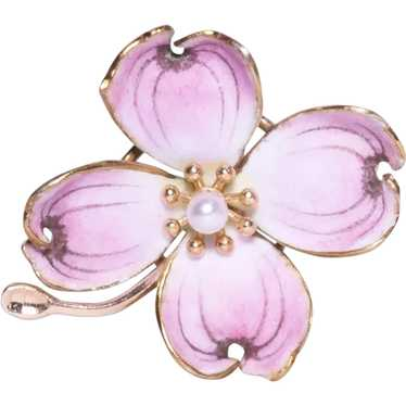 Antique 14k Yellow Gold Enamel and Pearl Pansy Bro