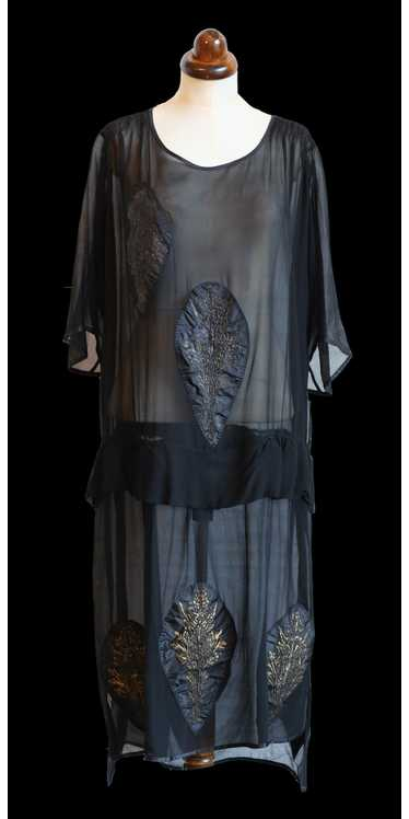 Vintage 1920s Black Silk Chiffon Applique Dress