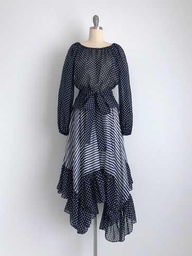 Vintage 70s 2-Piece Peasant Dress