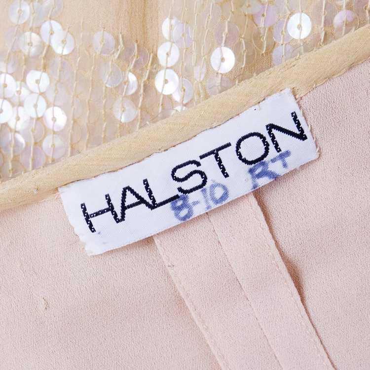 Vintage HALSTON 80s Nude Sheath Gown - image 5