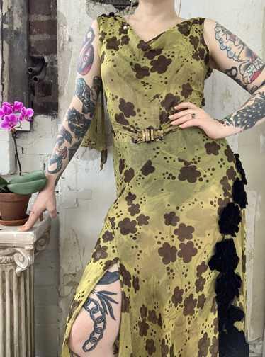 1930s Chartreuse Lamé Gown