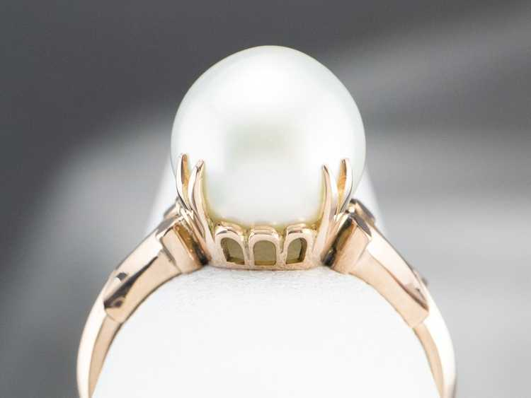 Pearl Rose Gold Solitaire Ring - image 8