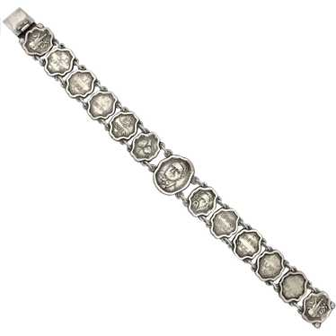 Victorian Sterling Theatrical Literary Link Bracel