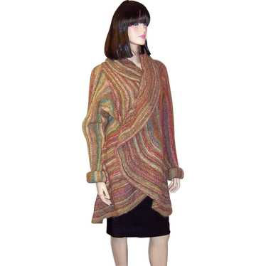 Luxurious Wrap-Around Sweater Coat in Autumnal Col
