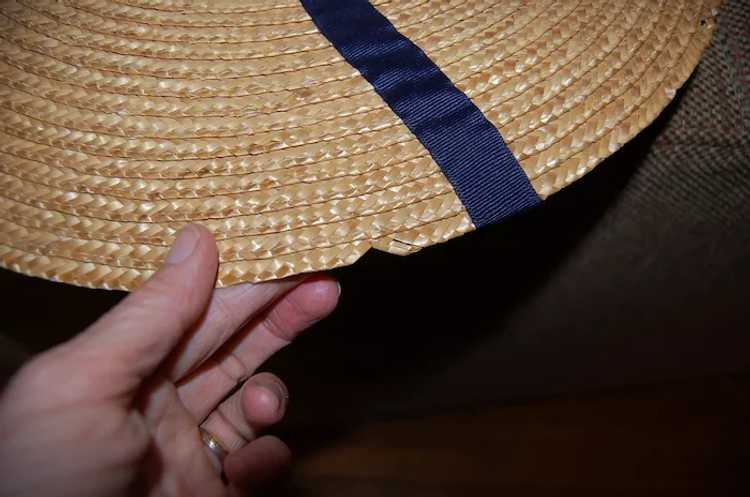 Wide Brimmed Straw Hat Women's 19th c Rural Style - image 8