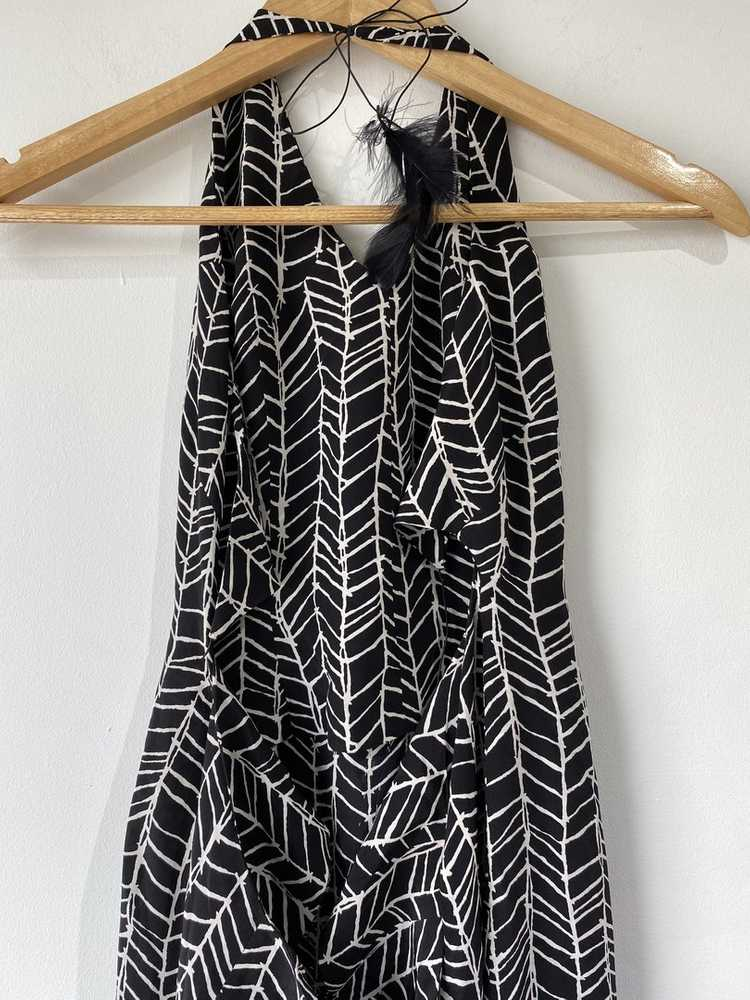 Vintage Black Silk Feather Gown - image 5