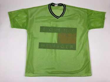 Vintage Tommy Hilfiger Flag Mesh Jersey Green Shi… - image 1