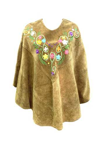 60s Hippie Green Embroidered Suede Poncho