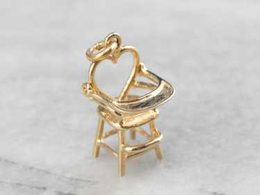 14K Gold Heart High Chair Charm