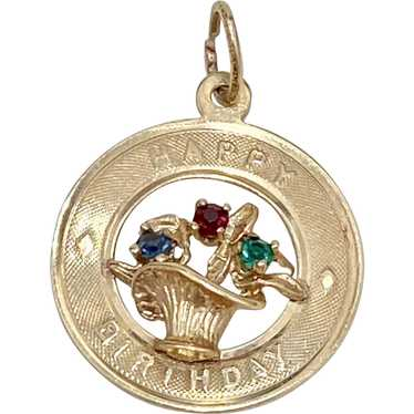 hallmark M/&M Vintage 14K gold Happy Birthday disc charm with 3D roses and two rubies