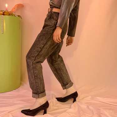 Acid wash + leather pleated jeans