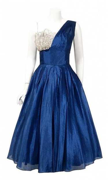 1950's Beaumelle Sapphire Organza & Metallic Lace