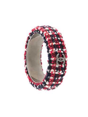 Chanel Pre-Owned CC tweed bangle bracelet - Black