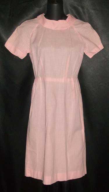 Vintage Adorable 1950's Pink Gingham Cotton Day Dr