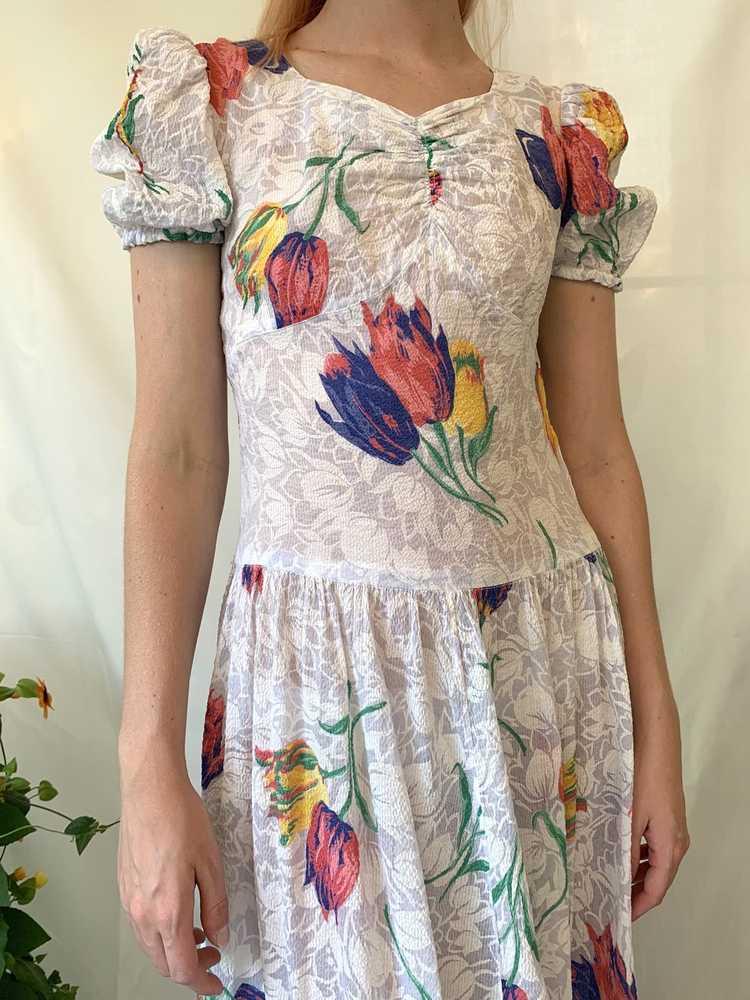 Tulip Print Voile Garden Party Dress - image 3