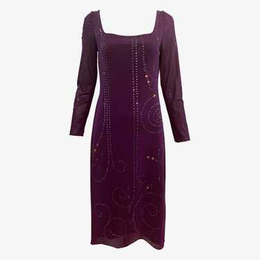 Sant Angelo 70s Dress Purple Studded with Rhinesto