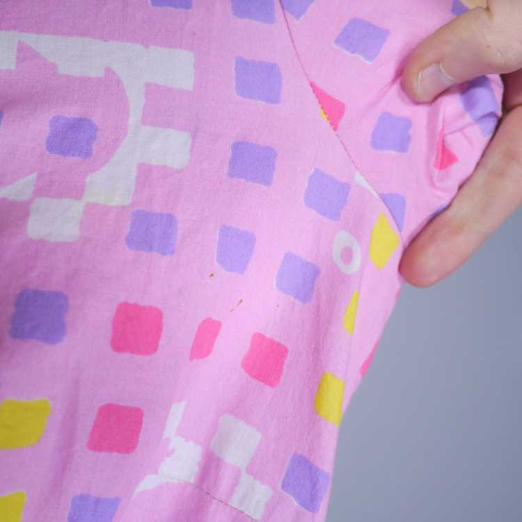 """50s 60s """"BANNER"""" PINK COTTON DAY DRESS WITH PASTE… - image 13"""