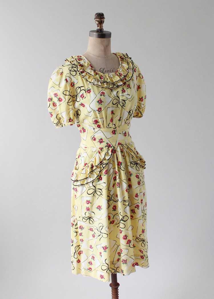 Vintage 1930s Yellow Novelty Print Cotton Dress - image 3