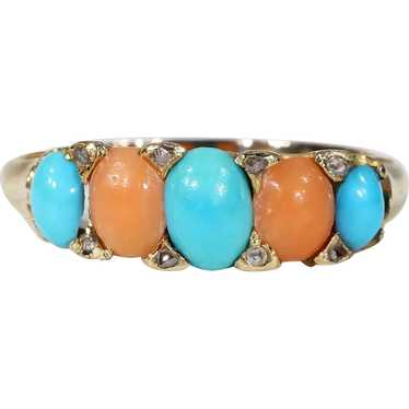Antique Victorian Coral Turquoise Diamond Ring 18k