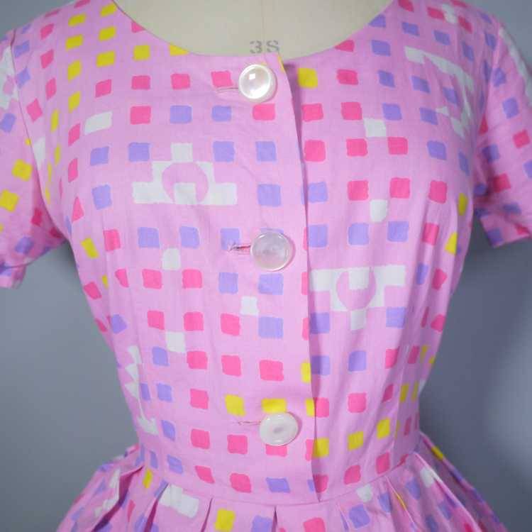 """50s 60s """"BANNER"""" PINK COTTON DAY DRESS WITH PASTE… - image 8"""