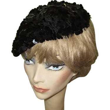 Sequined Hat / Beret, 50's Crochet, Black Paillett