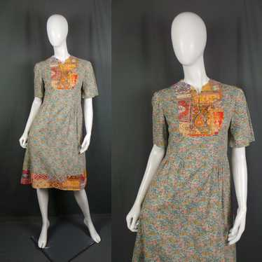 1960s Clashing Ditsy Floral and Indian Print Cotto