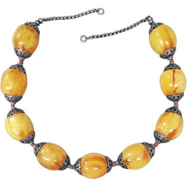 Bellini Amber Resin Double String Beaded Necklace Faux Suede Cord