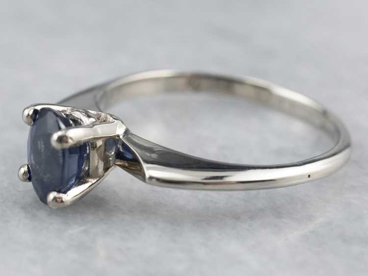 White Gold Sapphire Solitaire Ring - image 4