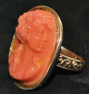 14K Victorian Coral Cameo Ring