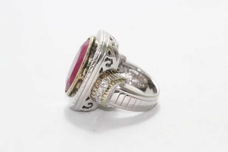 Sterling Silver Two Tone Ruby Ring - image 2