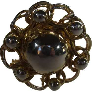 Mid Century Modern Goldtone and Silver Circle Pin