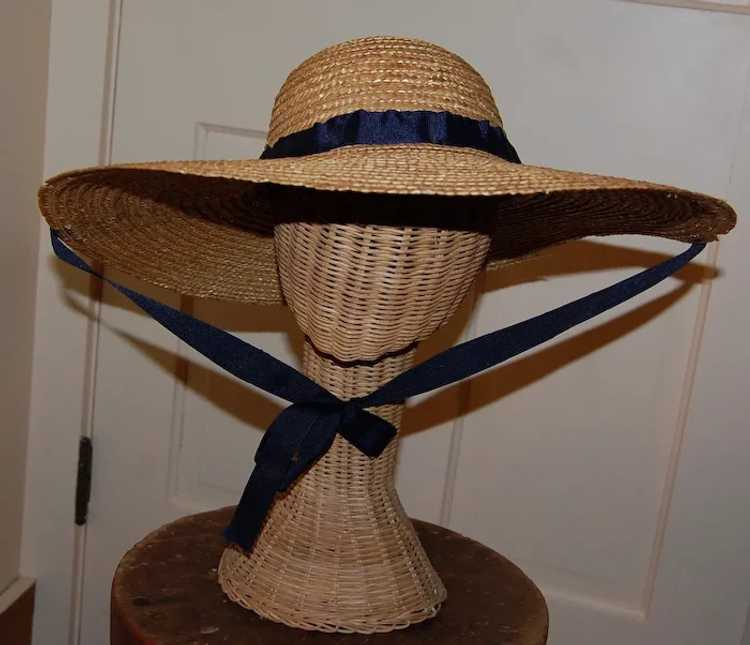 Wide Brimmed Straw Hat Women's 19th c Rural Style - image 4