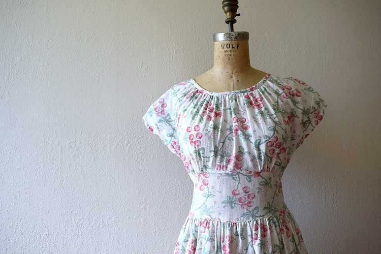 1940s cherry print dress . vintage 40s novelty pr… - image 10
