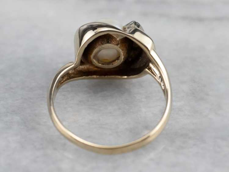 Vintage Pearl and Diamond Ring - image 5
