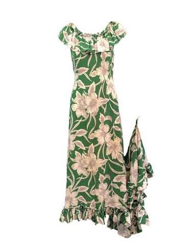 ##Incredible 1940s Green Rayon Print Holoku Dress