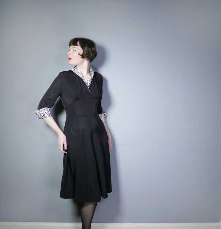"""40s 50s BLACK RAYON """"BICKLER"""" DRESS WITH LEOPARD … - image 1"""
