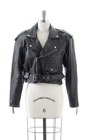 NEW ARRIVAL || 1980s Black Leather Cropped Moto Ja
