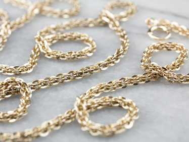 Antique Fancy Link Long Chain Necklace