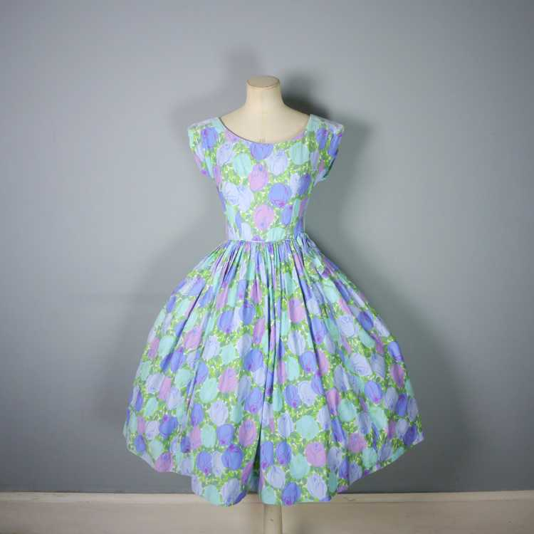 50s FLORAL ROSE DRESS IN BLUE, GREEN AND LILAC CO… - image 6