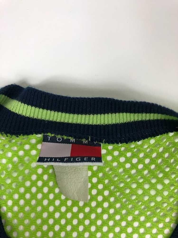 Vintage Tommy Hilfiger Flag Mesh Jersey Green Shi… - image 3