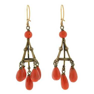 Victorian 14kt Natural Coral Chandelier Earrings